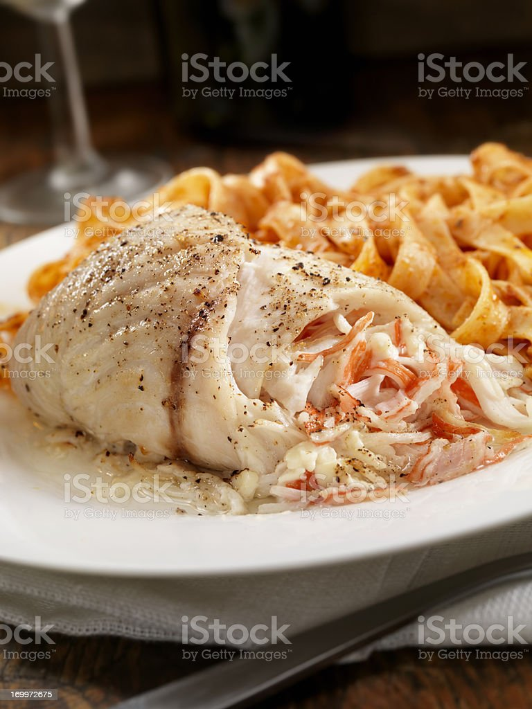 Lobster Stuffed Sea Bass stock photo