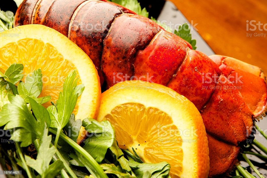 Lobster Tail & Oranges stock photo