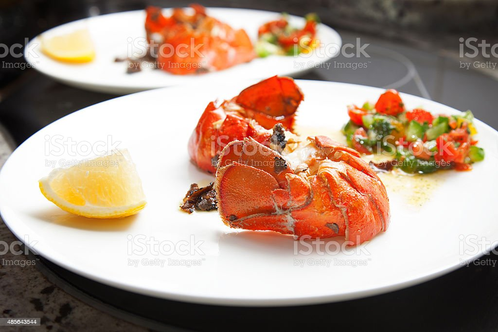 Lobster tail and filet steak meal stock photo