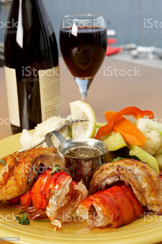 Lobster tail dinner plate close up royalty-free stock photo