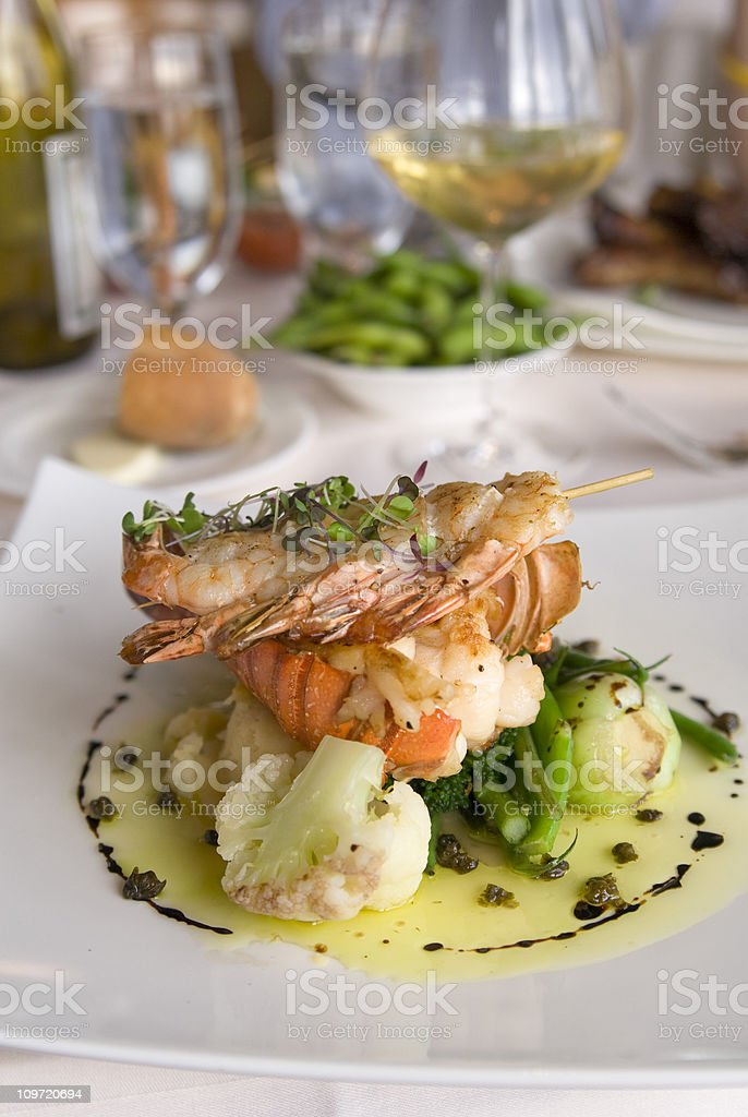 Lobster Tail & Shrimp Seafood Dinner Meal, Wine & Food at Restaurant stock photo