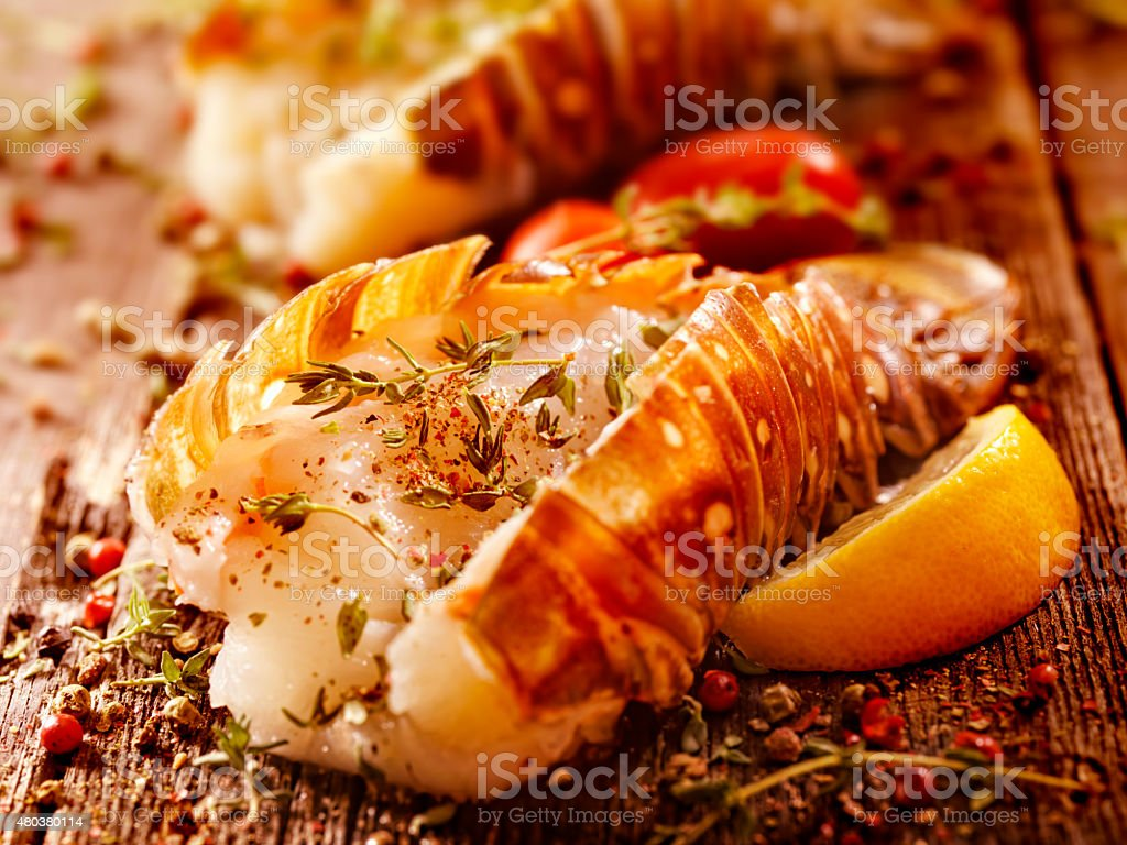Lobster Tails Seasoned for the Grill stock photo