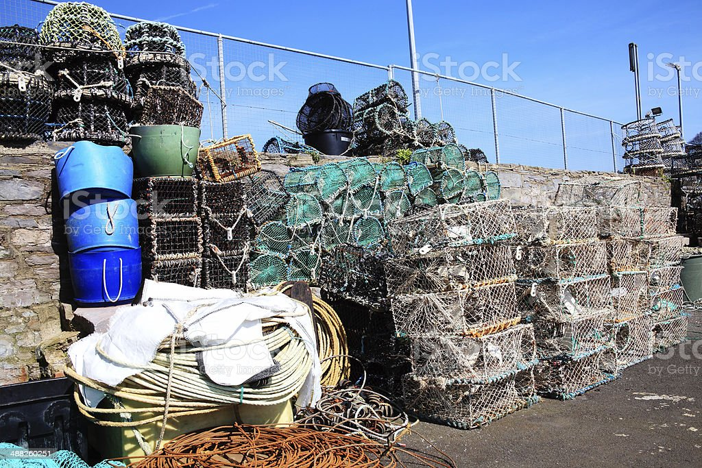 Lobster Traps, Brixham, Devon stock photo
