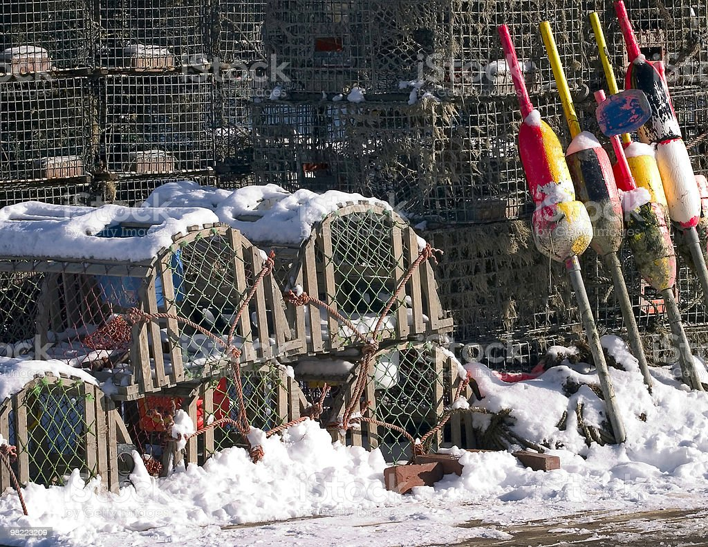 Lobster traps in winter royalty-free stock photo