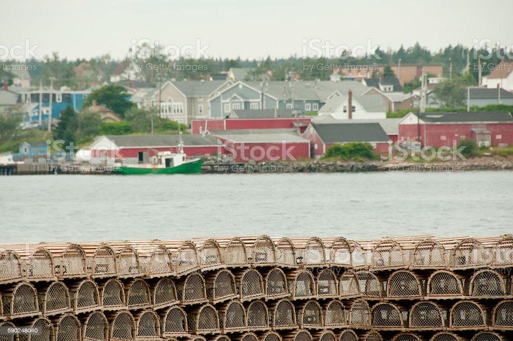 Lobster Traps - Louisbourg - Nova Scotia stock photo