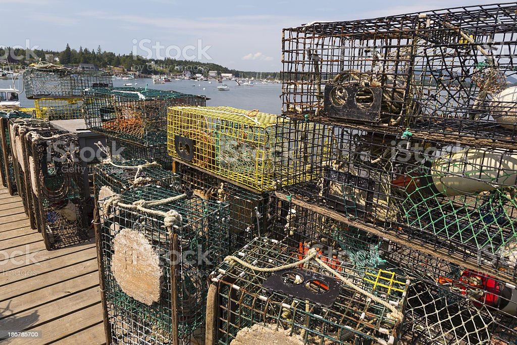 Lobster Traps on Dock royalty-free stock photo