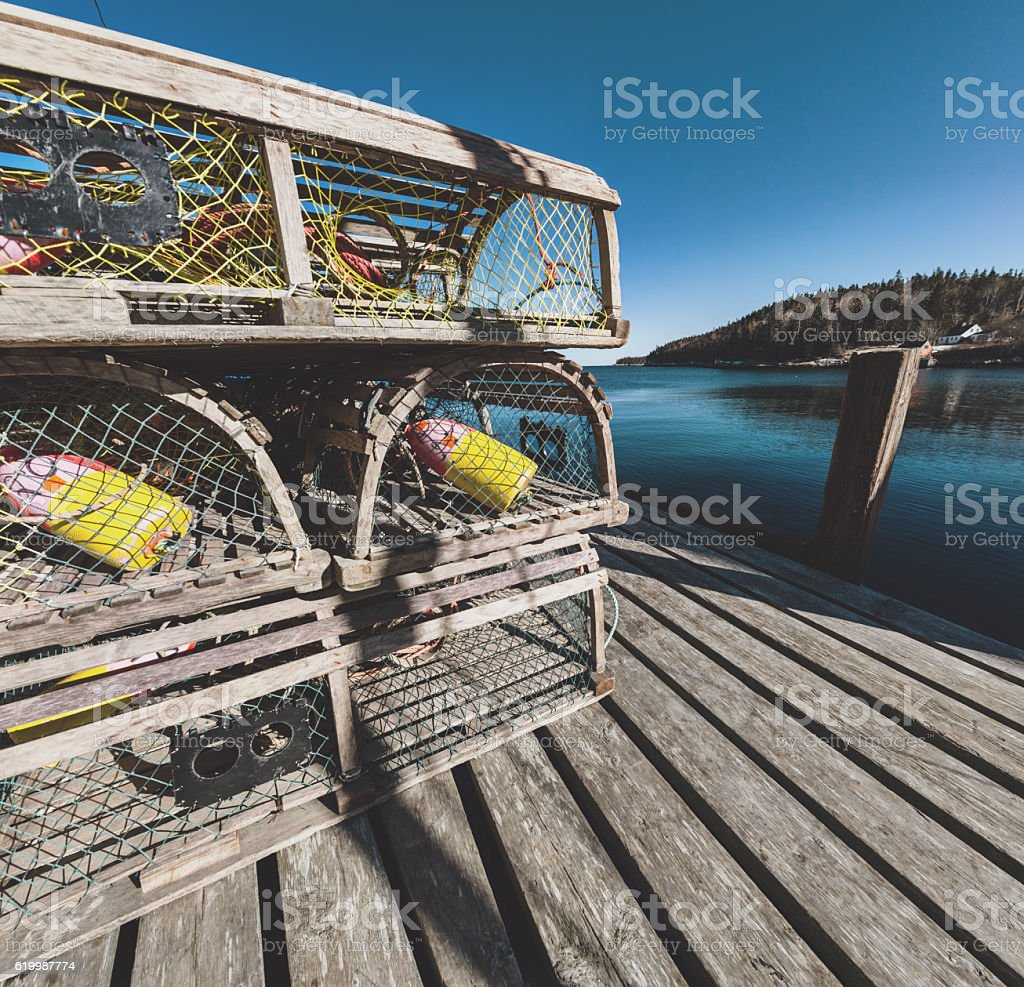 Lobster Traps on the Pier stock photo
