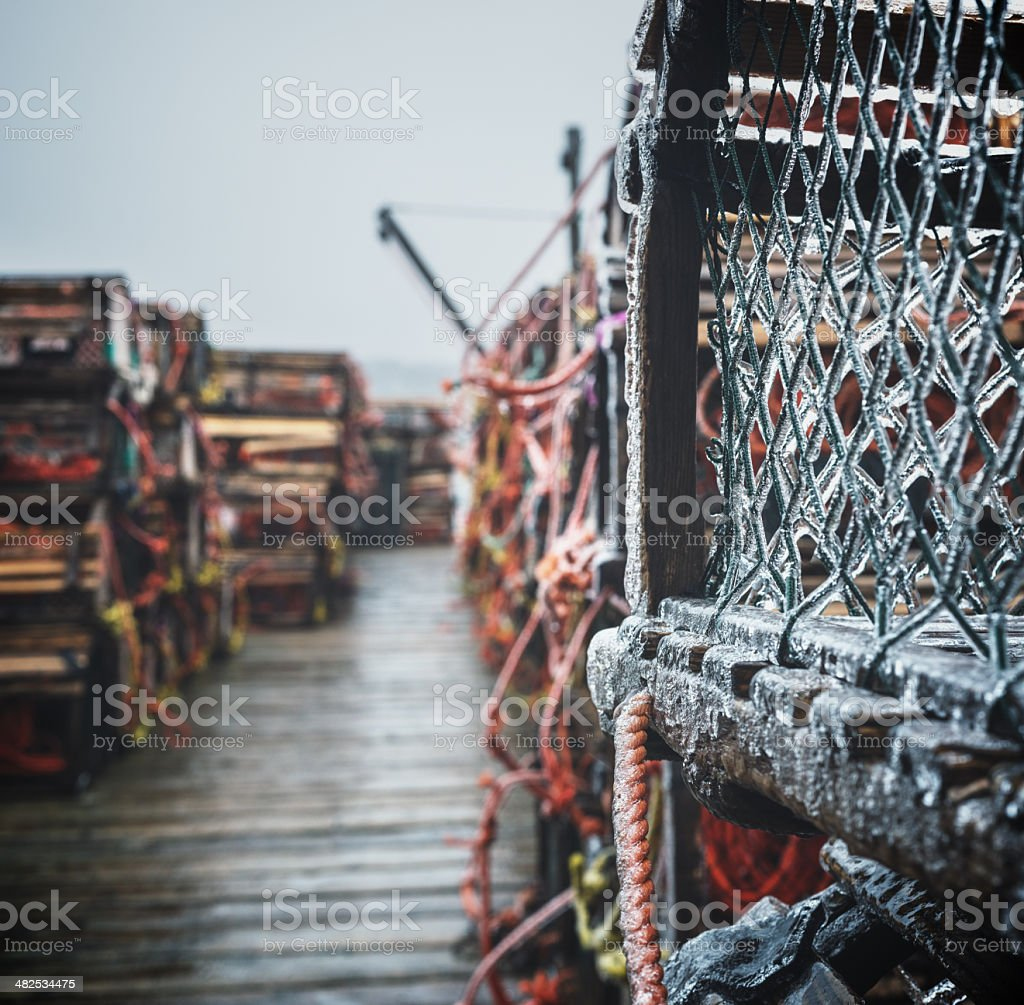 Lobster Traps on Wharf royalty-free stock photo