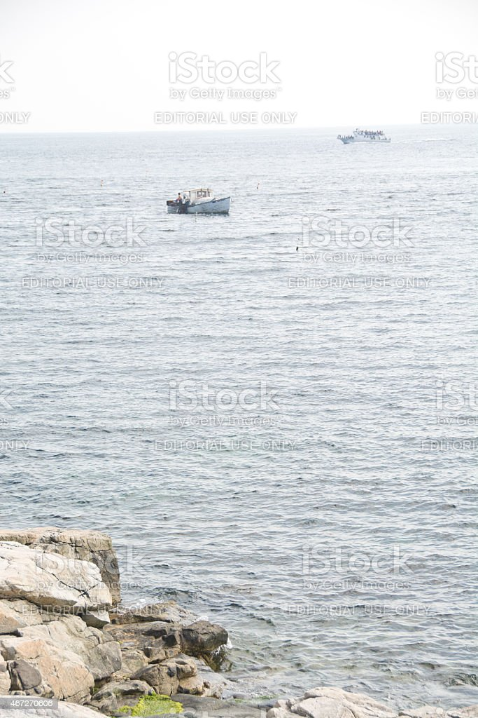 Lobstering off the New Hampshire coast stock photo