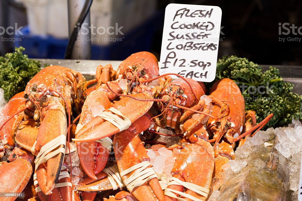 Lobsters in Borough Market, London stock photo