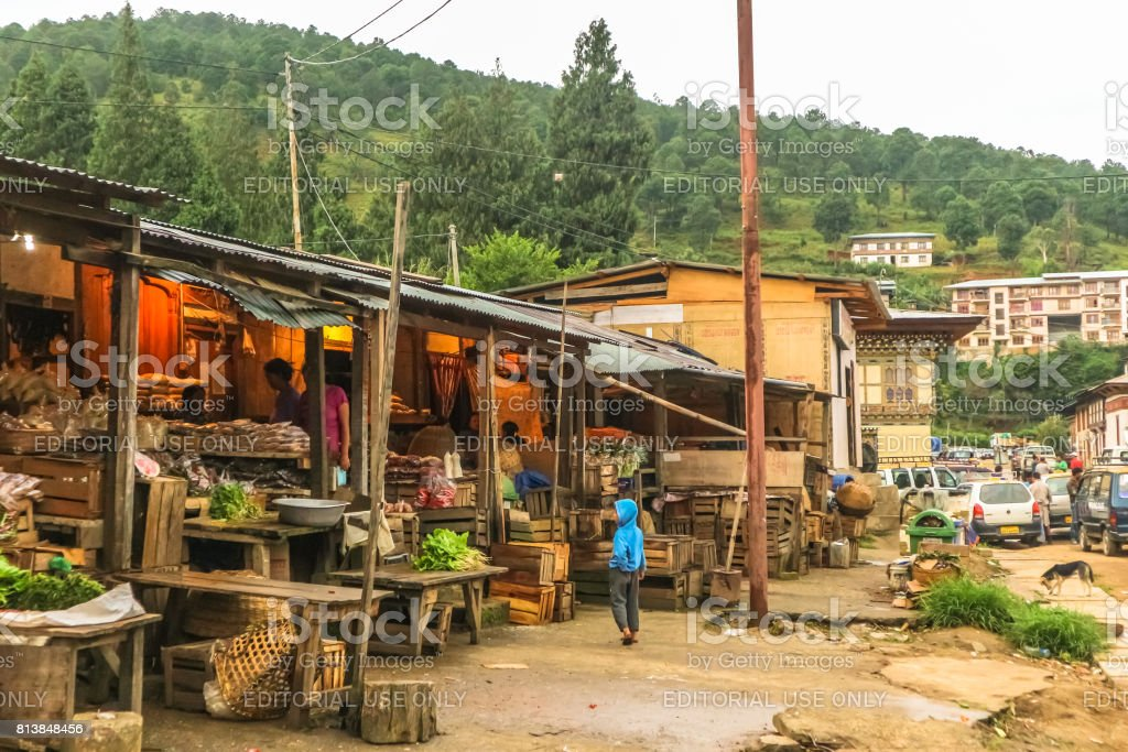 Punakha, Bhutan - September 10, 2016:  Local Bhutanese market in Thimphu, Bhutan. stock photo