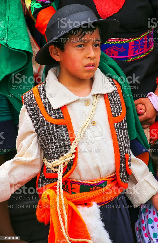 Local boy taking part in Festival in Lima, Peru stock photo