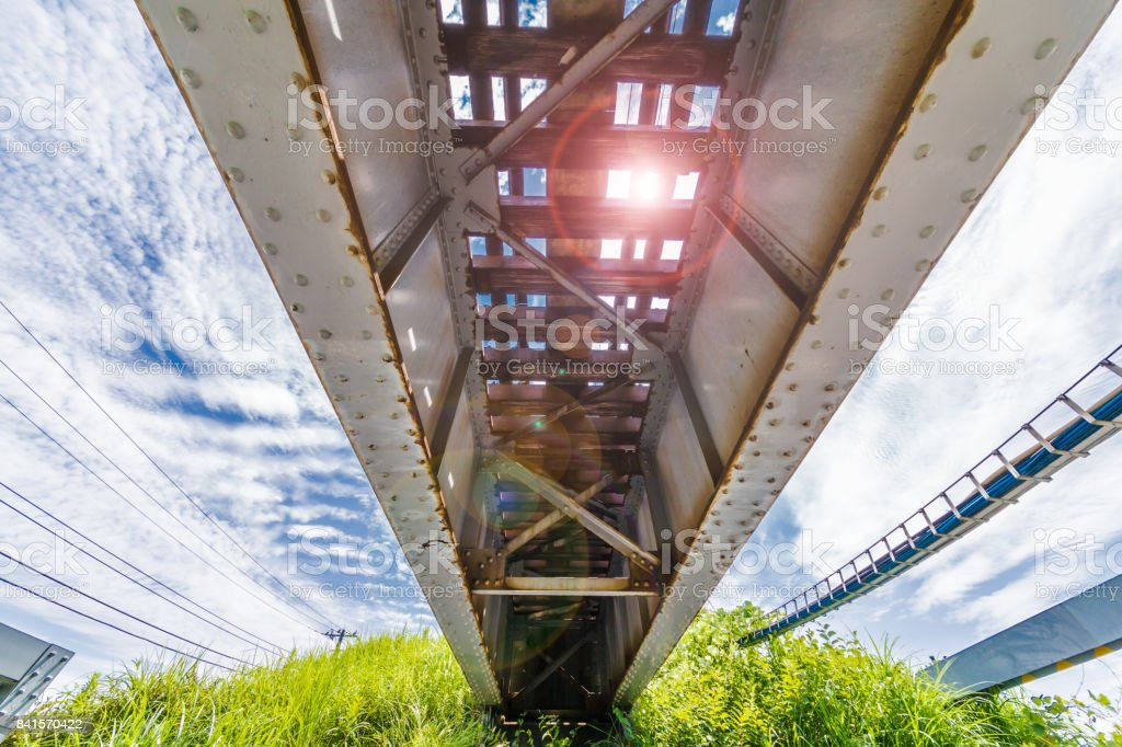 Local bridge railway bridge on the outskirts of Yokohama stock photo