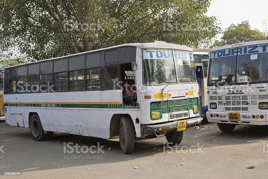 local busses at new delhi india stock photo