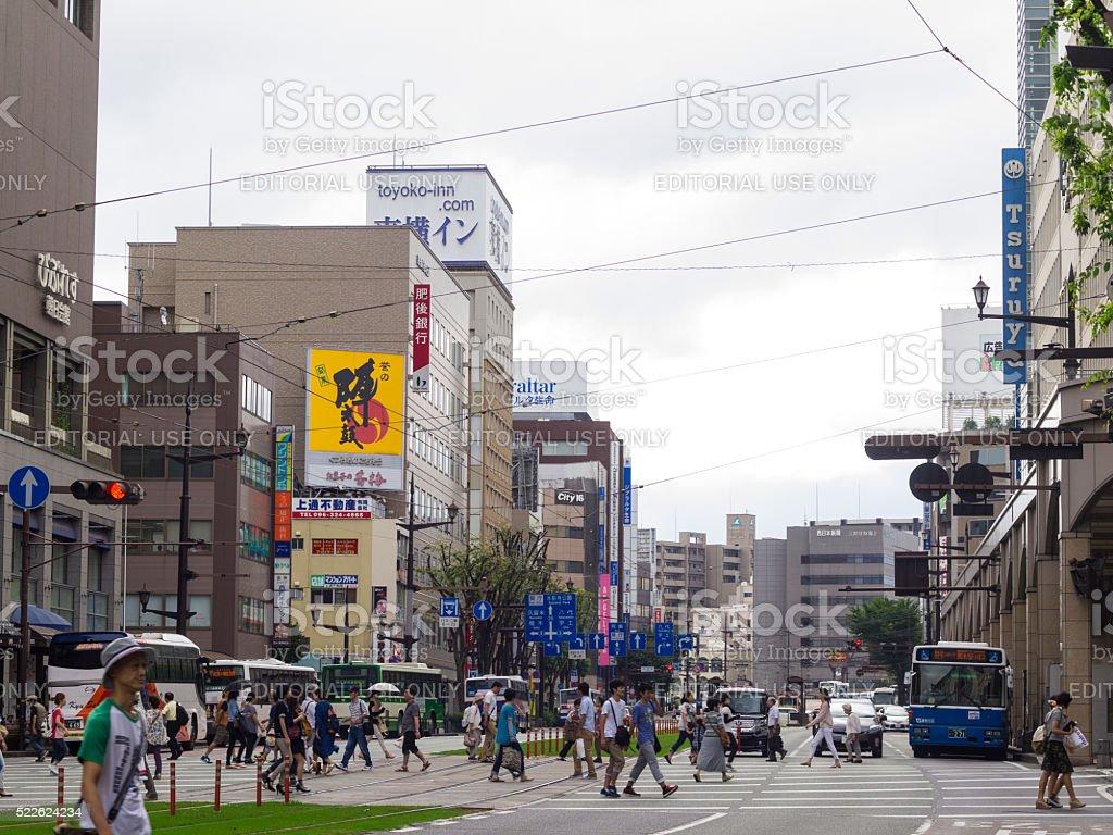 Local c rossing on Kumamoto street, Japan stock photo
