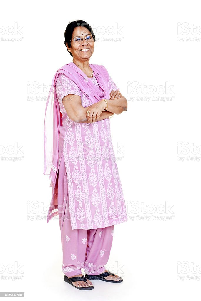 Local Casual Indian Senior Women Full Length Isolated on white stock photo