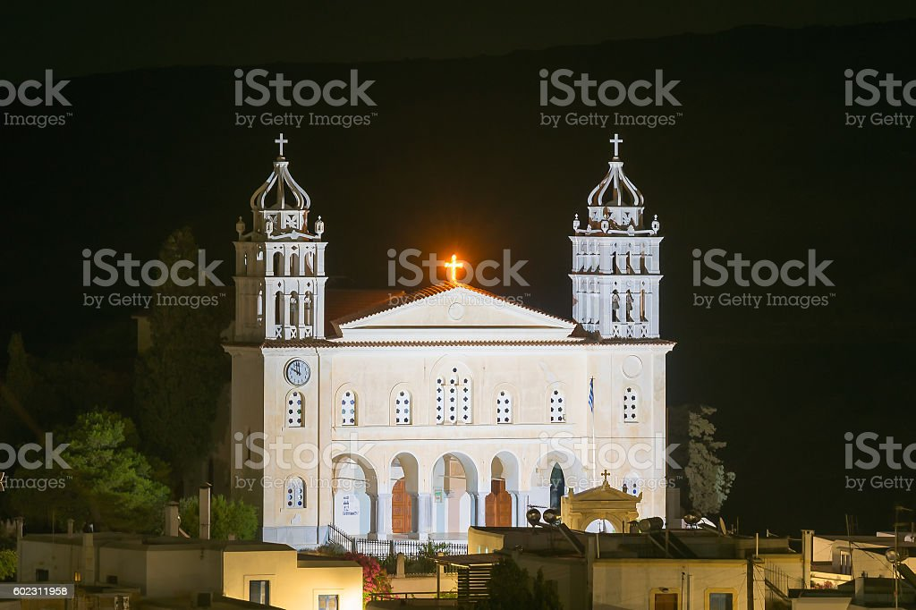 Local church of Leukes village at Paros island in Greece. stock photo