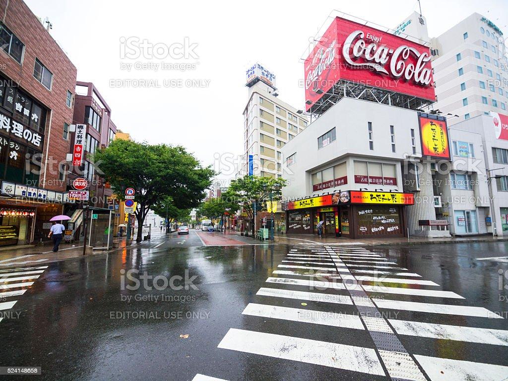 Local crossing on Beppu street in Japan stock photo