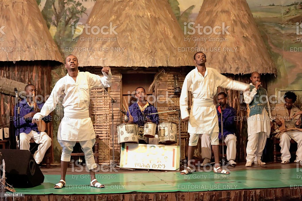 Local dancers perform for the tourists. Addis Ababa-Ethiopia. 0540 stock photo