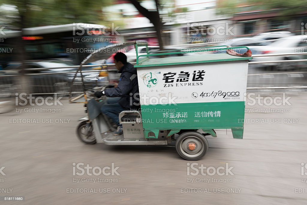 Local delivery company in Beijing. stock photo