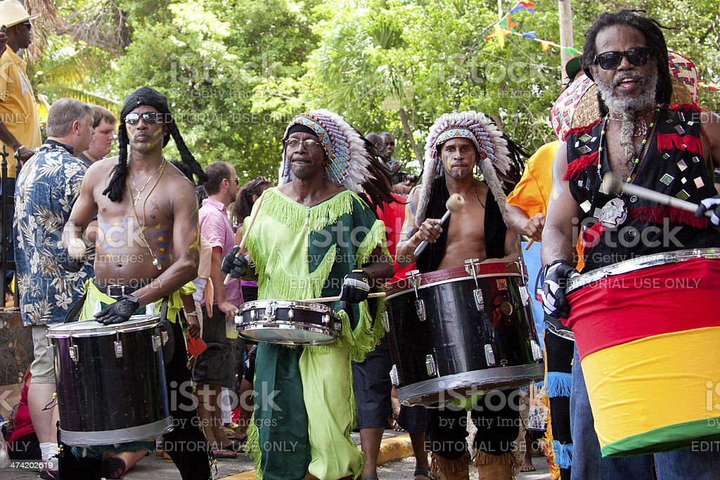 local drummers playing on their instruments at St.John Festival, USVI stock photo
