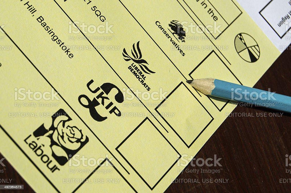 Local Election Ballot Paper stock photo