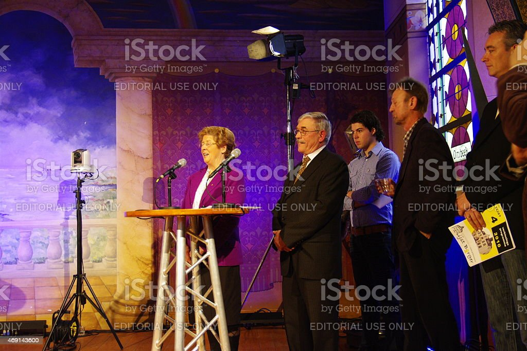 Local election debate in action stock photo