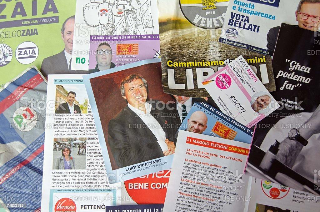 Local election leaflets, Venice, Italy stock photo