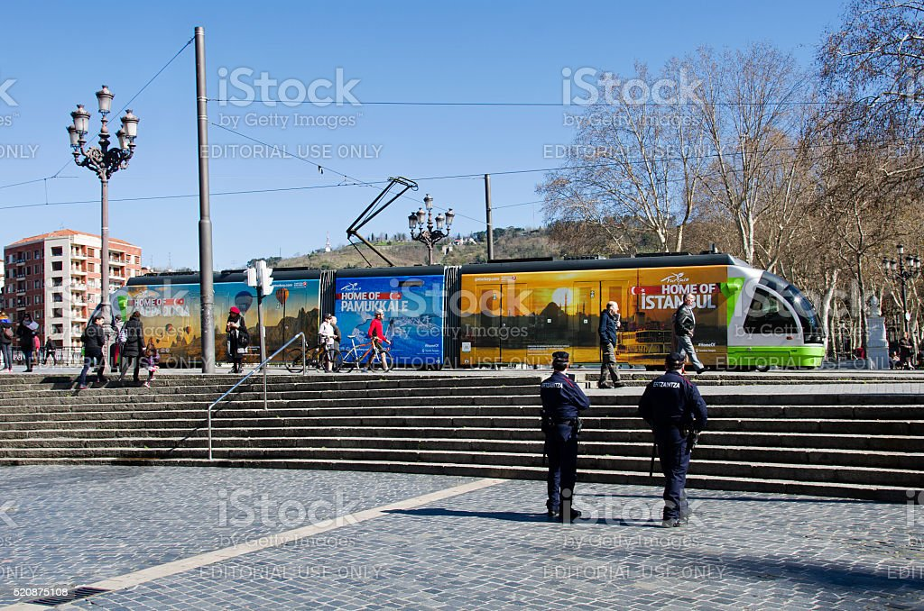 Local electric tramway with advertising for travel in Turkey stock photo