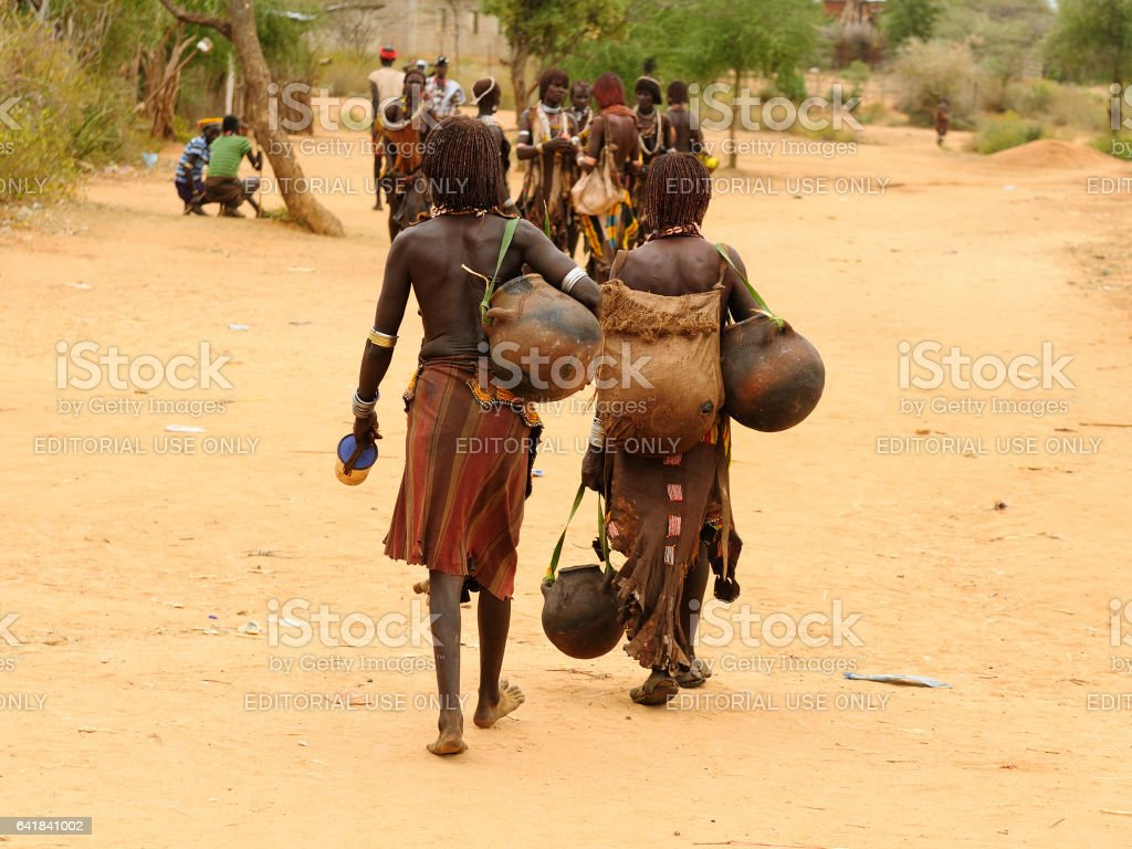 Local Ethiopian people coming back from the market stock photo