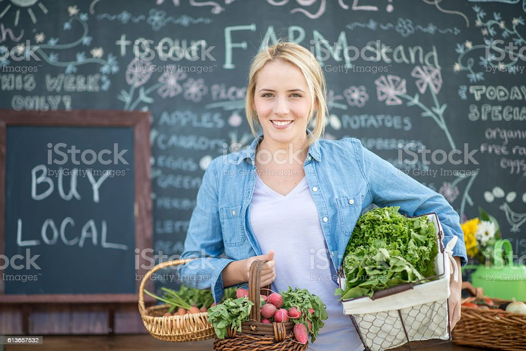 Local Farmer Selling Produce stock photo