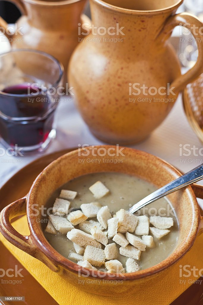 local Ferrara soup with warm croutons stock photo