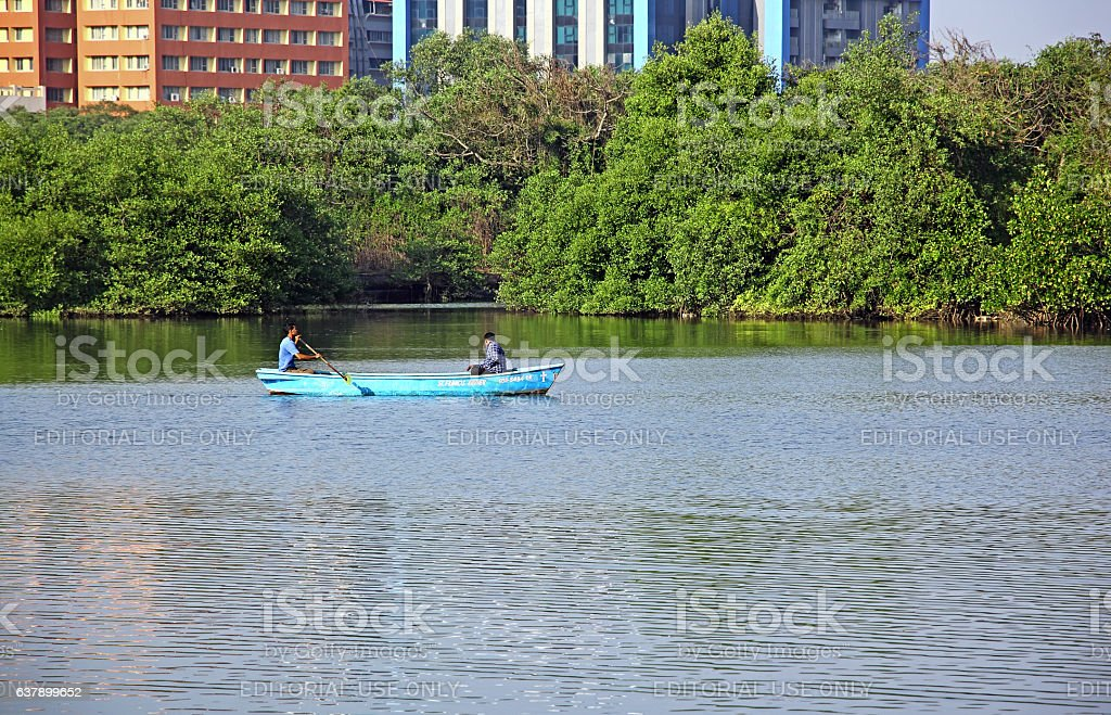 Local Fishermen in Dinghy stock photo