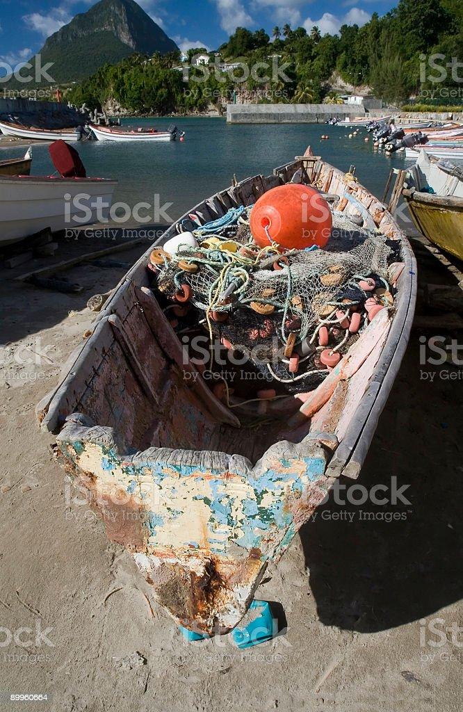 Local Fishing Boat on Saint Lucia stock photo