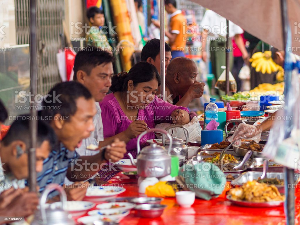 Local food stand in Yangon, Myanmar stock photo