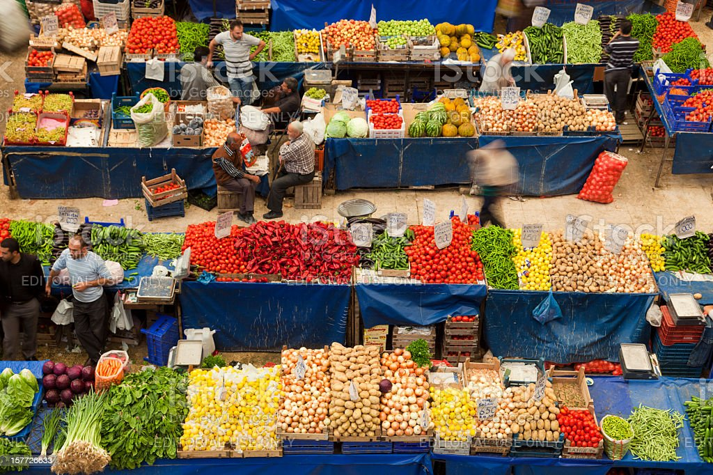 Local fruit and vegetable bazaar, Konya, Turkey royalty-free stock photo