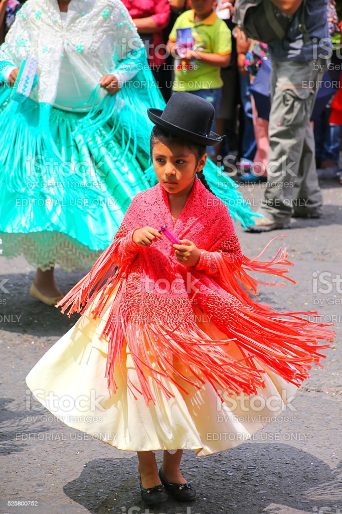 Local girl performing in Lima, Peru stock photo