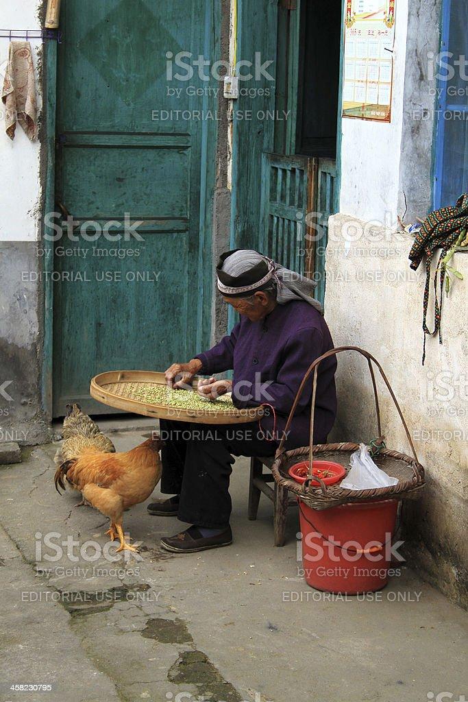 Local Hakka donna, Ganzhou foto stock royalty-free