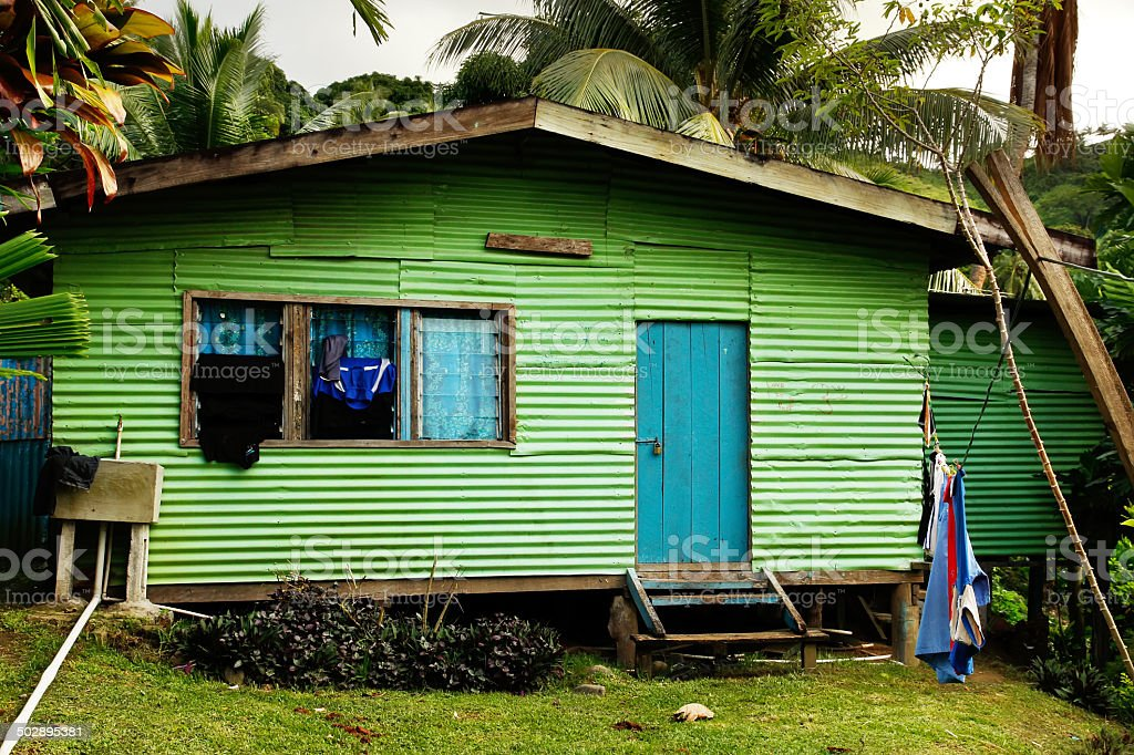 Local house, Vanua Levu island, Fiji stock photo
