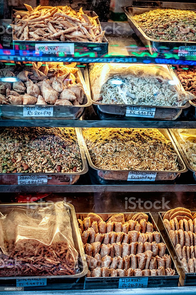 Local Indian street food at the Old Delhi city market stock photo