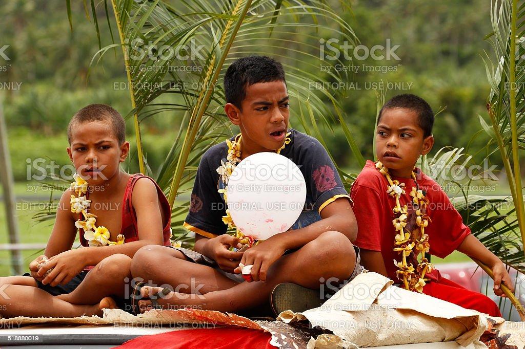 Local kids celebrate arrival of Fuifui Moimoi stock photo