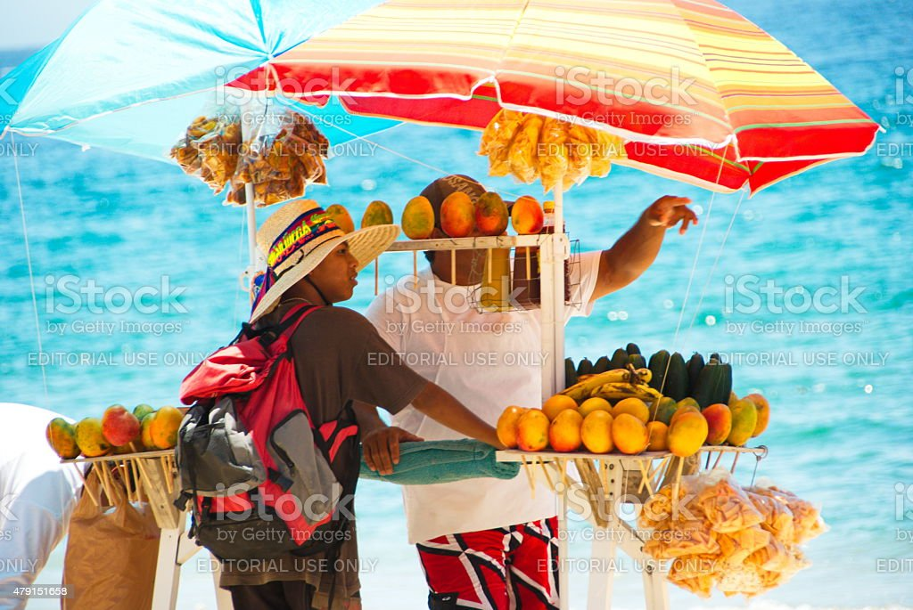 Local Man Selling Mangos in Mexico stock photo