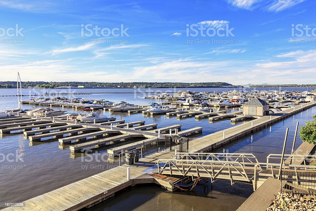 Local marina on the Illinois River stock photo