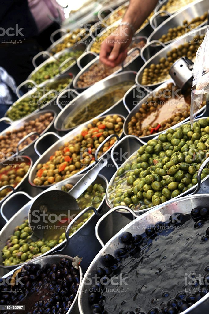 Local market of olives royalty-free stock photo