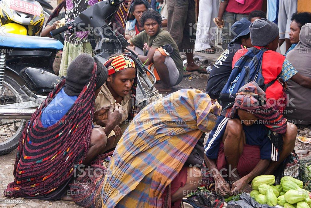 Local market of Wamena in Papua province of Indonesia stock photo