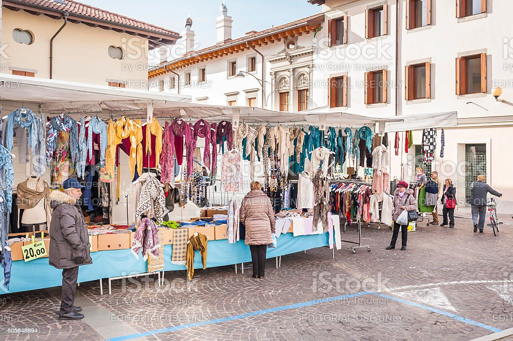 Local market outdoor in Nord Est of Italy. stock photo