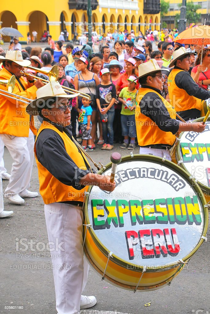 Local men playing drums in Lima, Peru stock photo