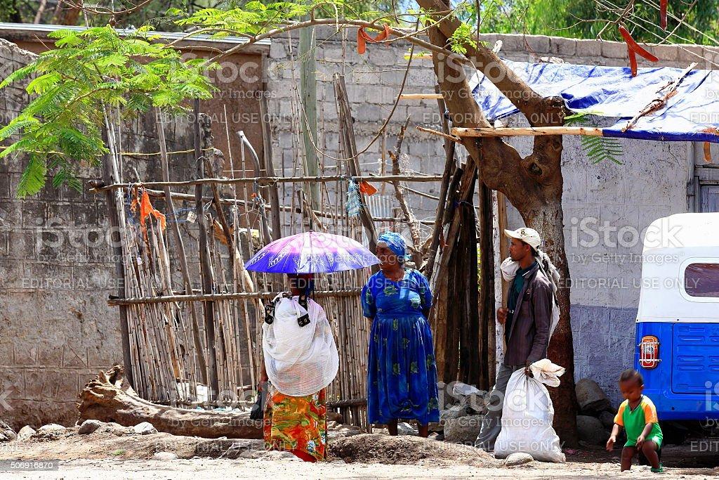 Local people chatting on the street. Debre Birhan-Ethiopia. 0015 stock photo