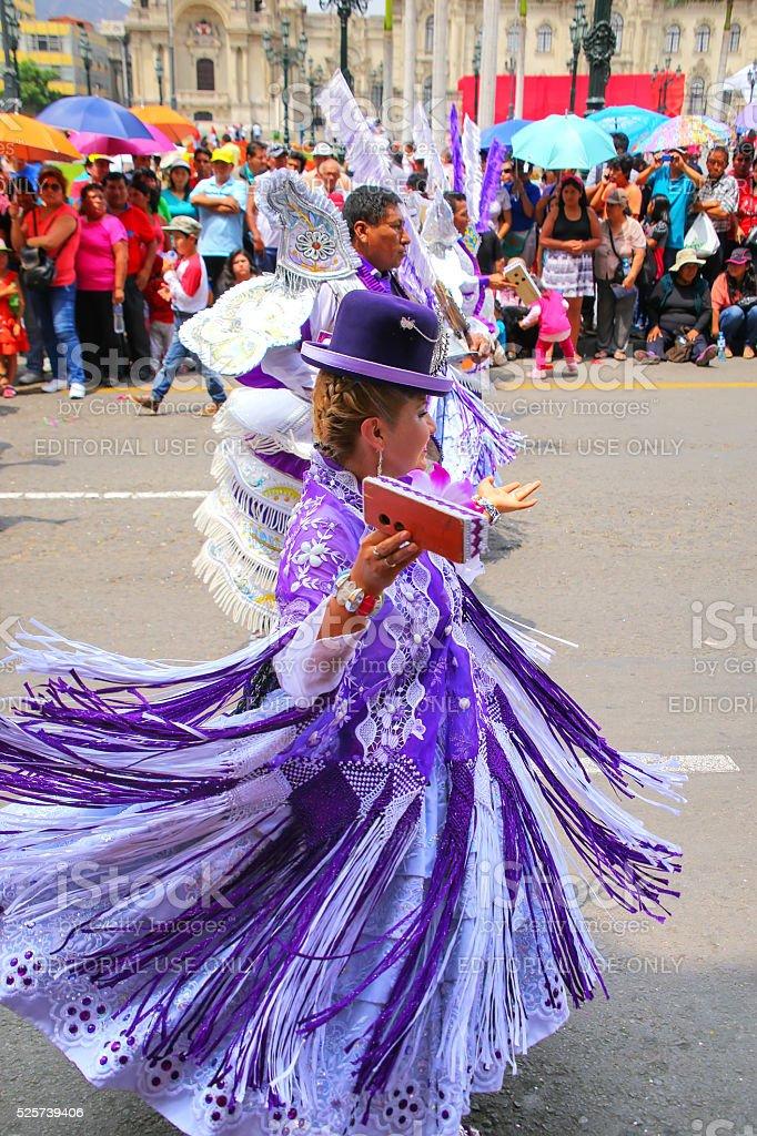 Local people dancing in Lima, Peru stock photo