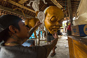 Local people during built Ogoh-ogoh are statues